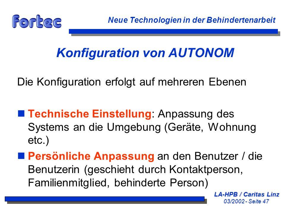 Konfiguration von AUTONOM