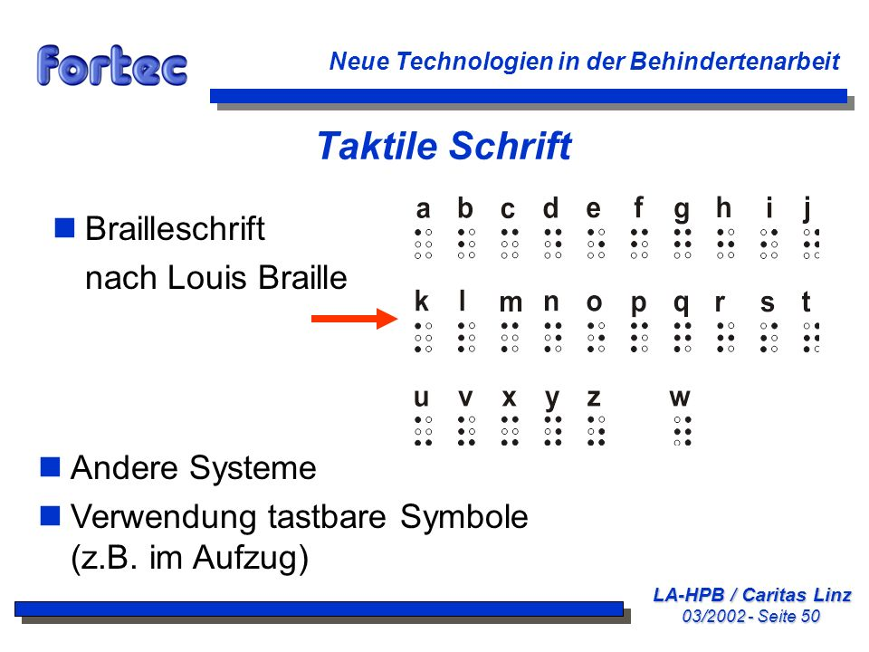 Taktile Schrift Brailleschrift nach Louis Braille Andere Systeme