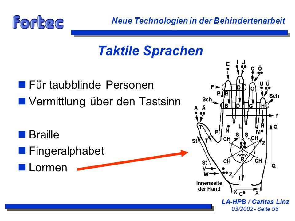 Taktile Sprachen Für taubblinde Personen Vermittlung über den Tastsinn