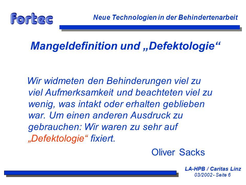 """Mangeldefinition und """"Defektologie"""