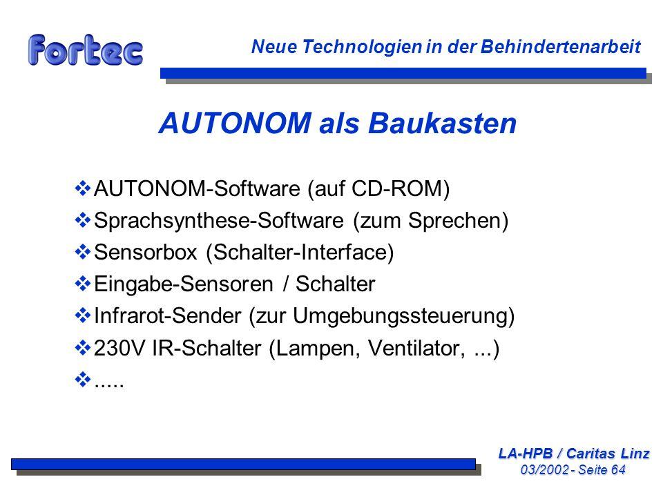 AUTONOM als Baukasten AUTONOM-Software (auf CD-ROM)