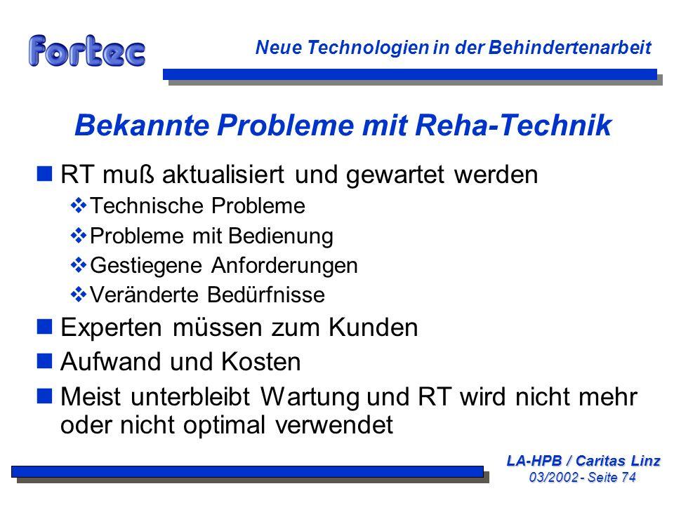Bekannte Probleme mit Reha-Technik
