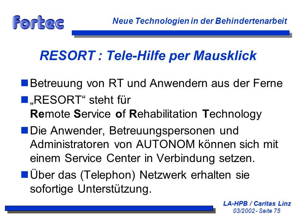 RESORT : Tele-Hilfe per Mausklick