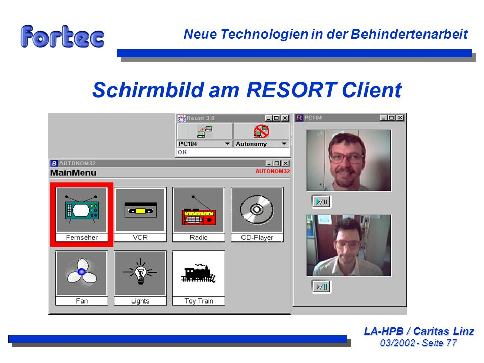 Schirmbild am RESORT Client