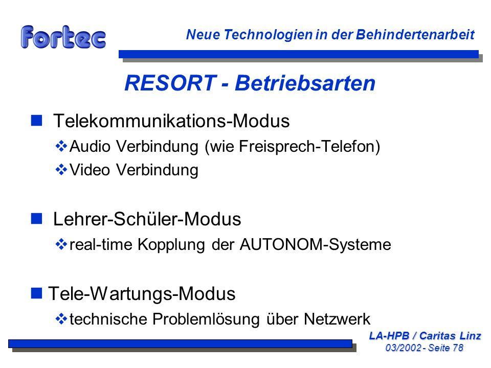 RESORT - Betriebsarten