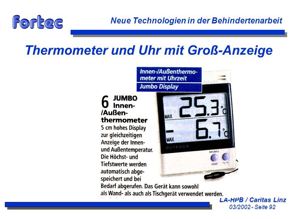 Thermometer und Uhr mit Groß-Anzeige