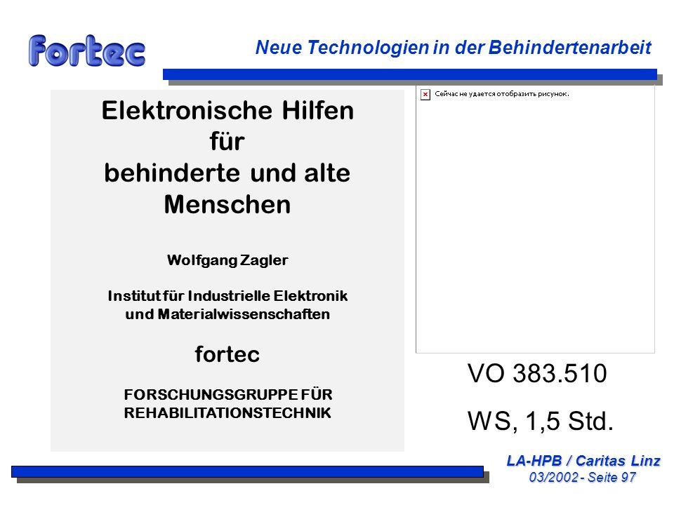 Elektronische Hilfen für behinderte und alte Menschen VO 383.510
