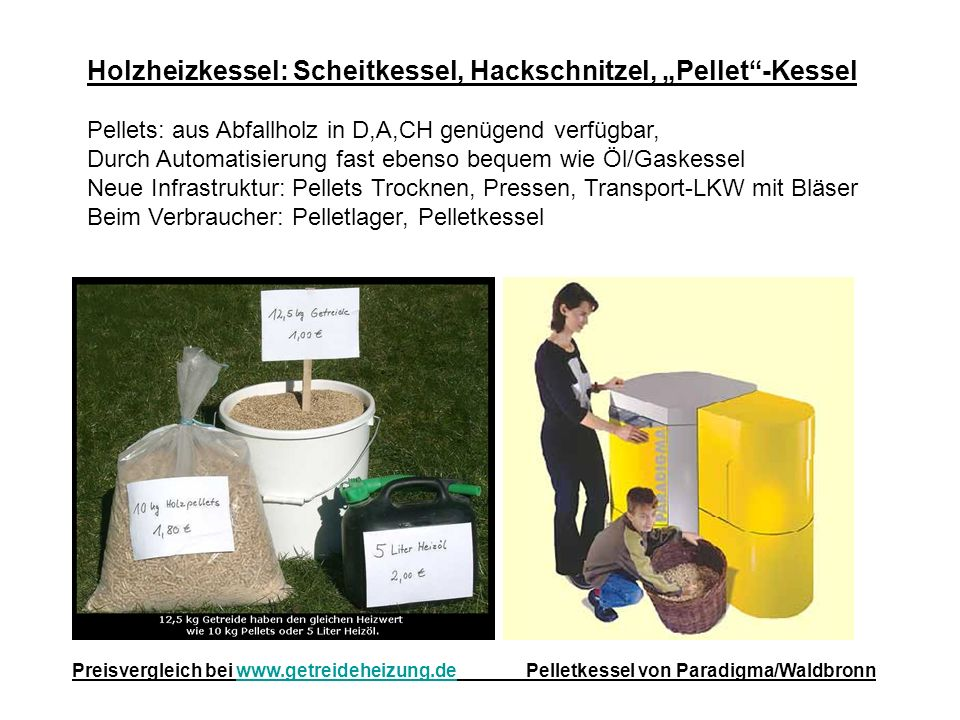 "Holzheizkessel: Scheitkessel, Hackschnitzel, ""Pellet -Kessel"