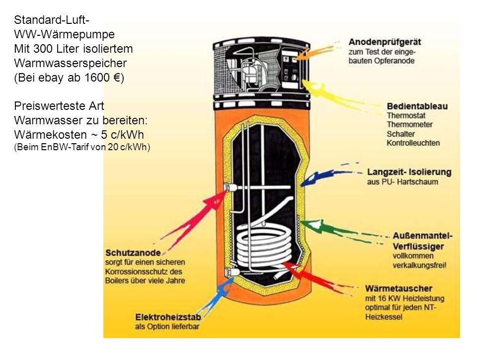 Warmwasser zu bereiten: Wärmekosten ~ 5 c/kWh