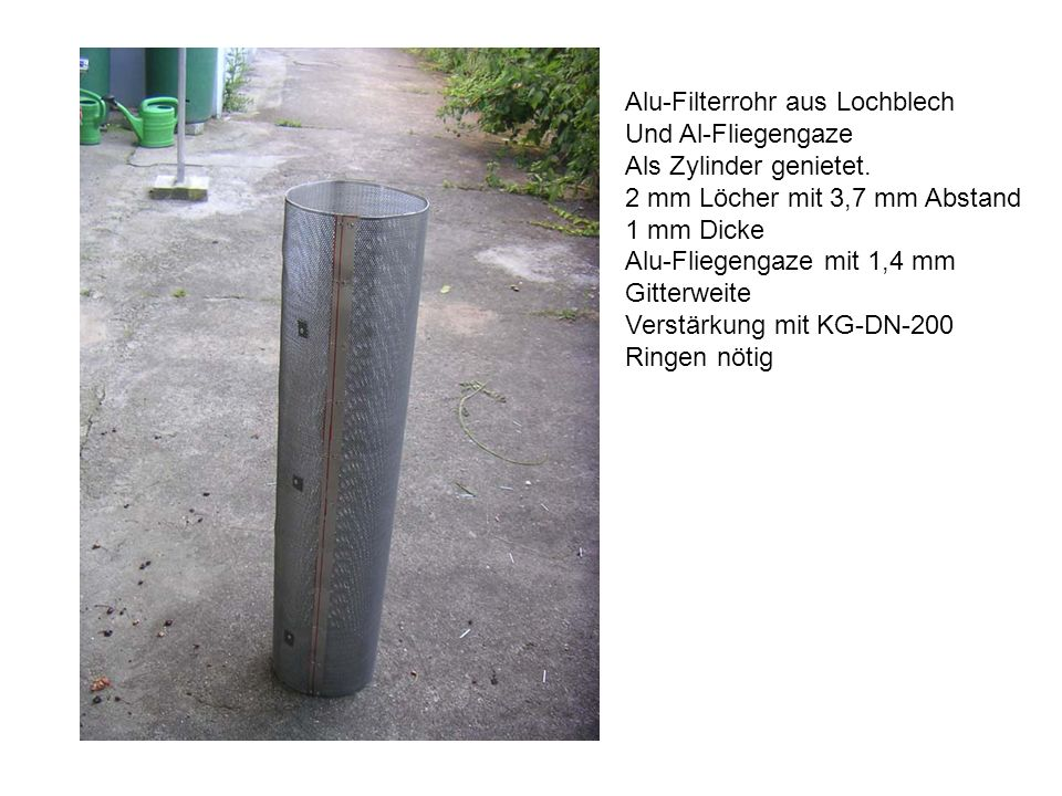 Alu-Filterrohr aus Lochblech