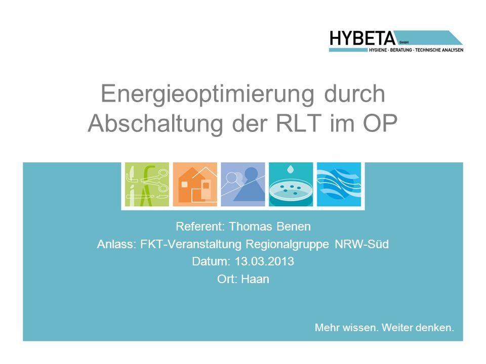 Energieoptimierung durch Abschaltung der RLT im OP