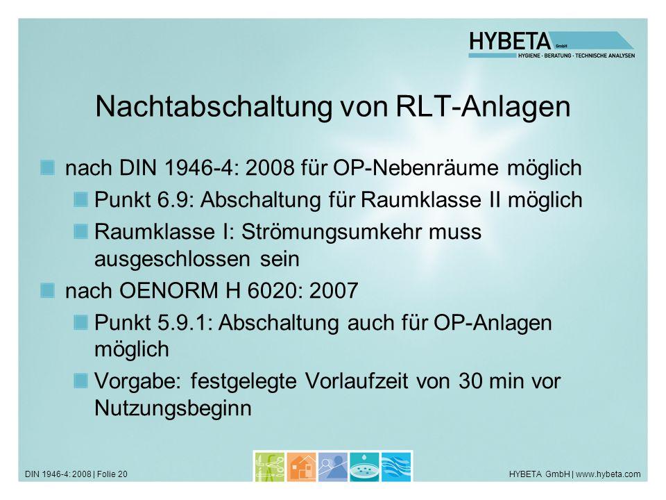 Nachtabschaltung von RLT-Anlagen