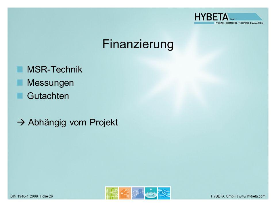 Finanzierung MSR-Technik Messungen Gutachten  Abhängig vom Projekt