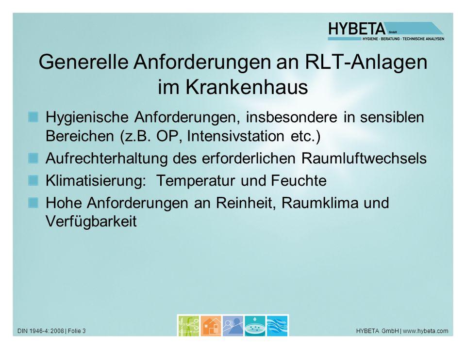 Generelle Anforderungen an RLT-Anlagen im Krankenhaus