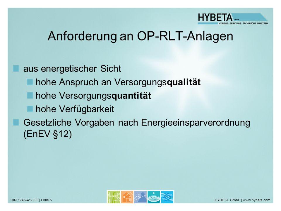 Anforderung an OP-RLT-Anlagen