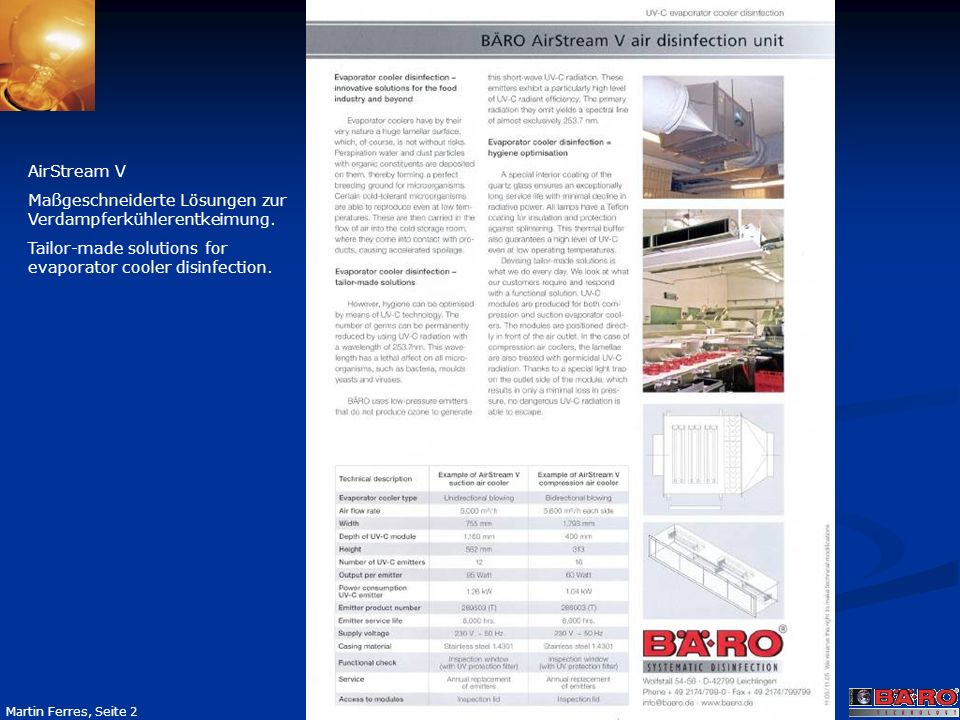 AirStream V Maßgeschneiderte Lösungen zur Verdampferkühlerentkeimung.