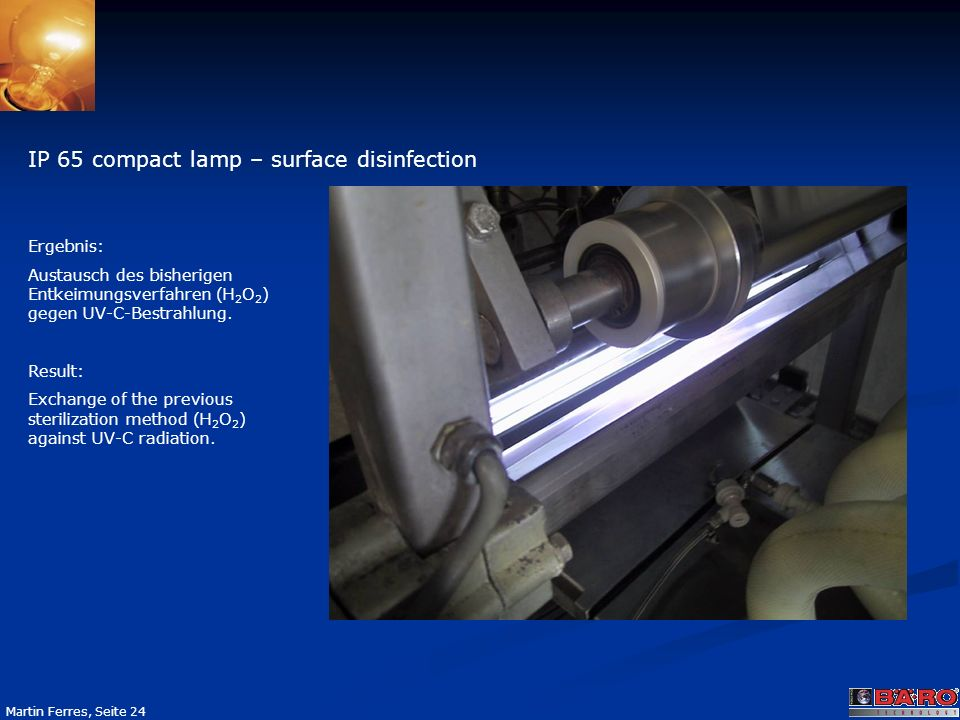 IP 65 compact lamp – surface disinfection