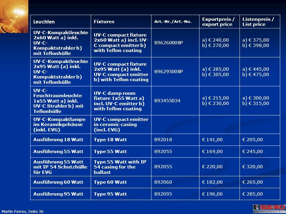 Leuchten Fixtures Exportpreis / export price Listenpreis / List price