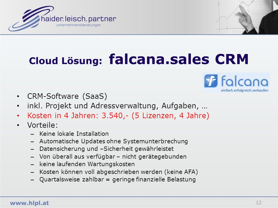 Cloud Lösung: falcana.sales CRM