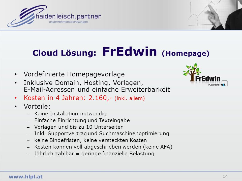 Cloud Lösung: FrEdwin (Homepage)