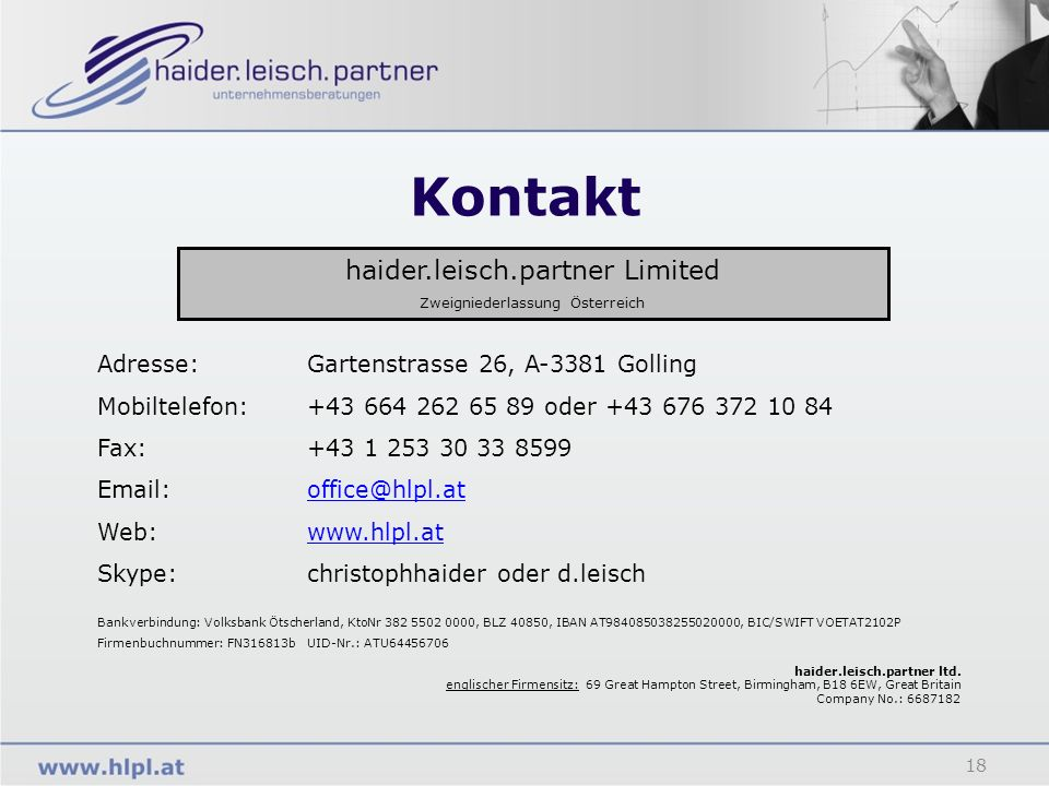 Kontakt haider.leisch.partner Limited