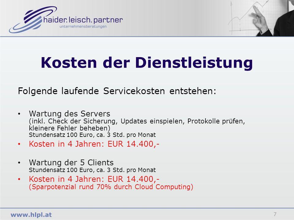 Kosten der Dienstleistung