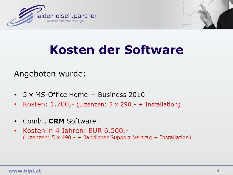Kosten der Software Angeboten wurde: