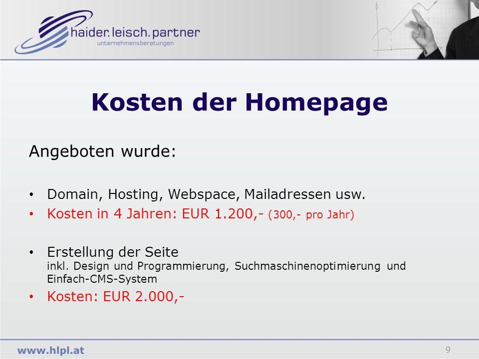 Kosten der Homepage Angeboten wurde:
