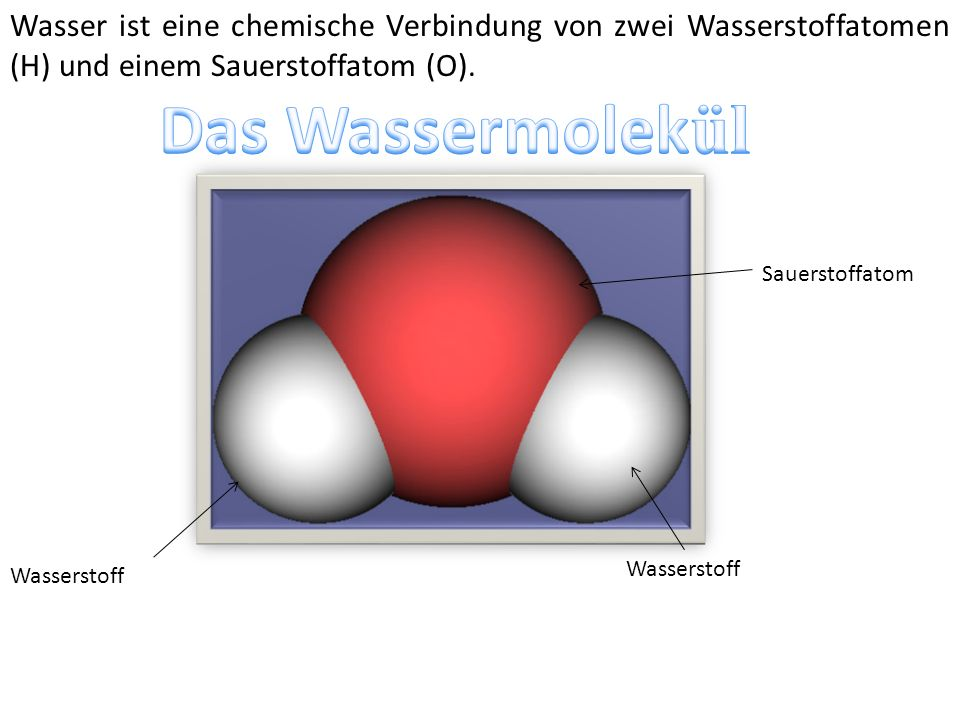 Wasser ist eine chemische Verbindung von zwei Wasserstoffatomen (H) und einem Sauerstoffatom (O).