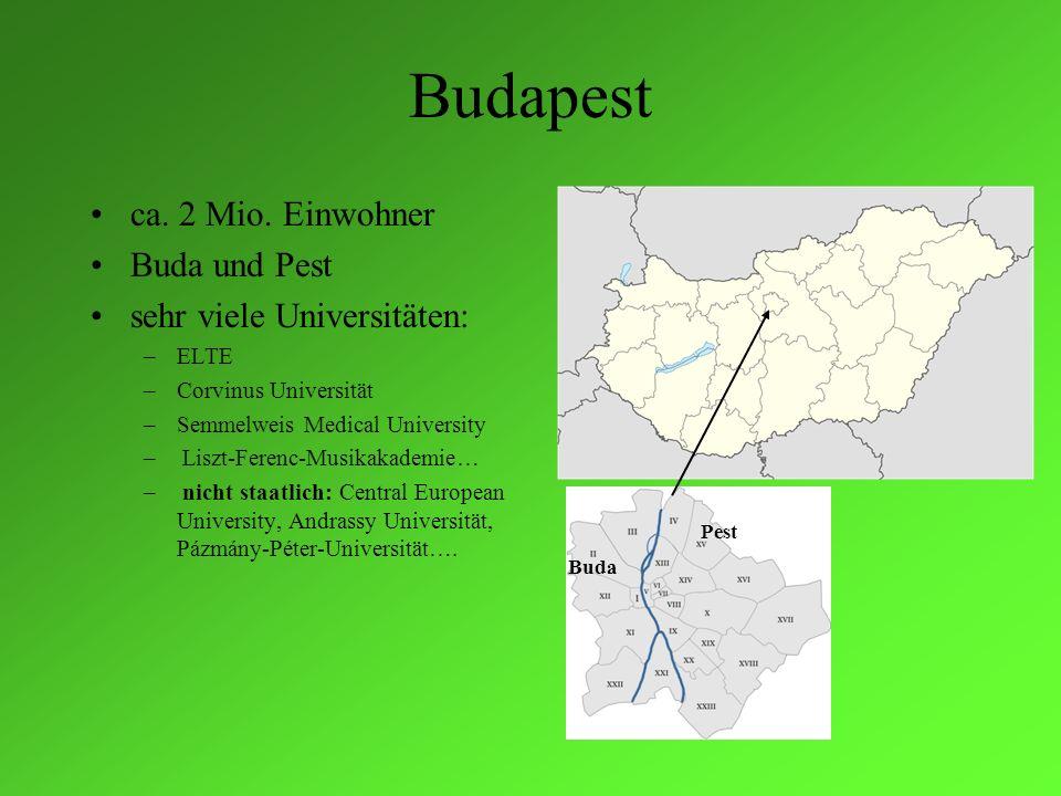 Budapest ca. 2 Mio. Einwohner Buda und Pest sehr viele Universitäten: