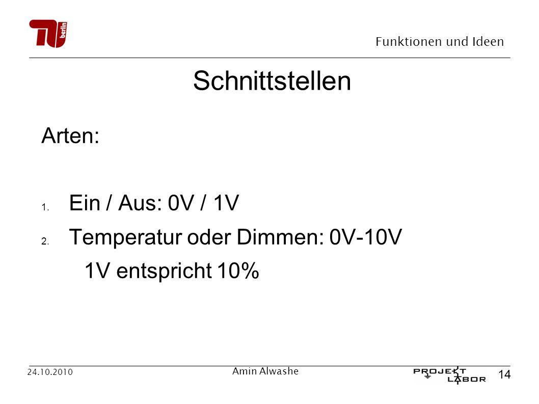 Schnittstellen Arten: Ein / Aus: 0V / 1V