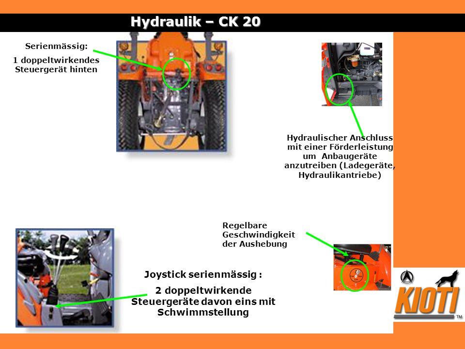 Hydraulik – CK 20 Joystick serienmässig :