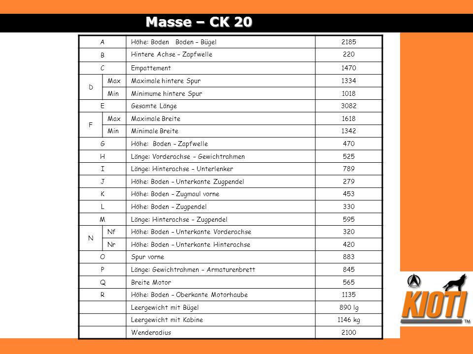 Masse – CK 20 A Höhe: Boden Boden – Bügel 2185 B
