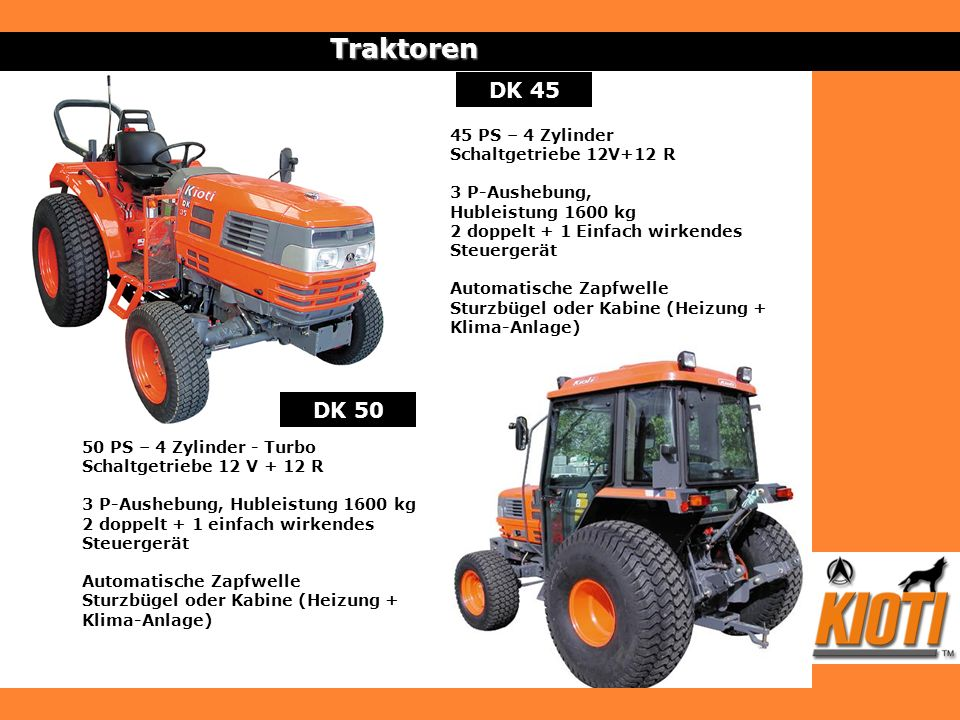 Traktoren DK 45 DK 50 45 PS – 4 Zylinder Schaltgetriebe 12V+12 R