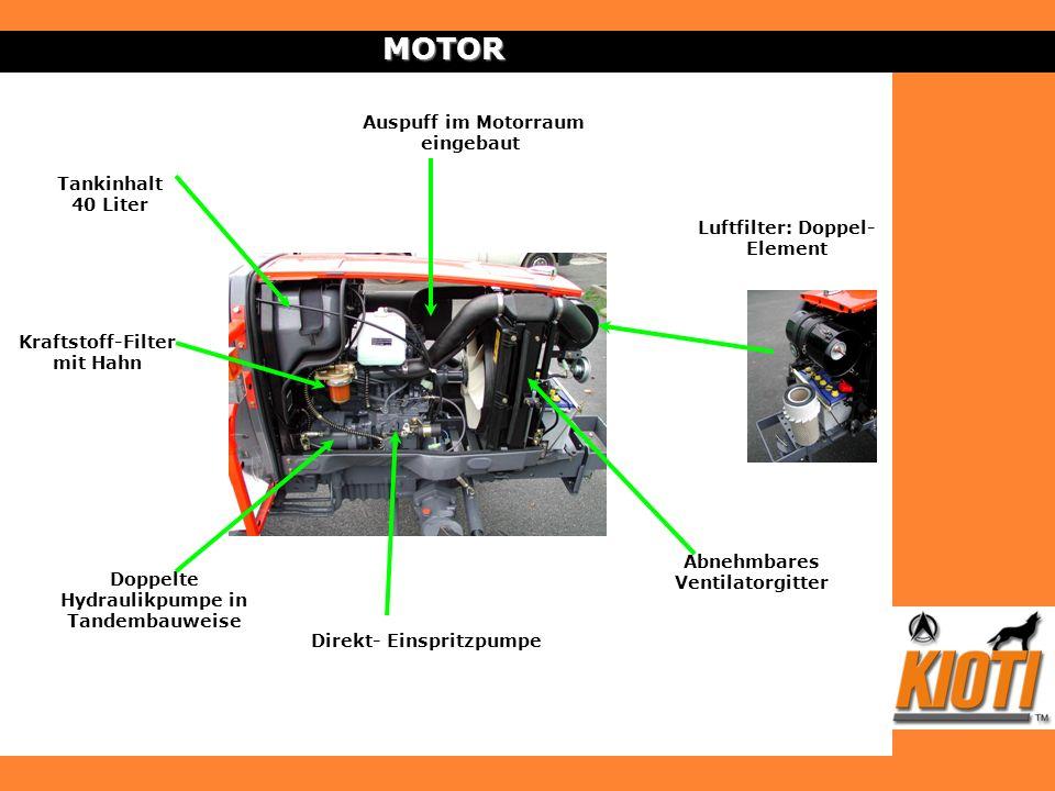 MOTOR Auspuff im Motorraum eingebaut Tankinhalt 40 Liter
