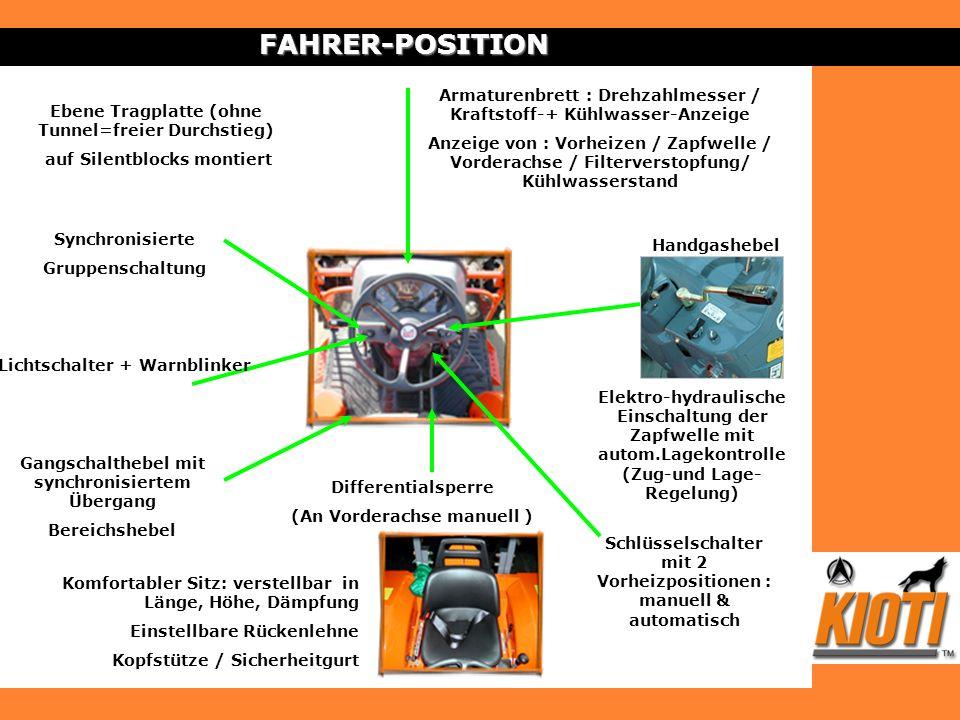 FAHRER-POSITIONArmaturenbrett : Drehzahlmesser / Kraftstoff-+ Kühlwasser-Anzeige.