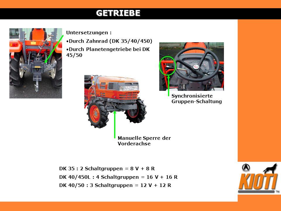 GETRIEBE Untersetzungen : Durch Zahnrad (DK 35/40/450)