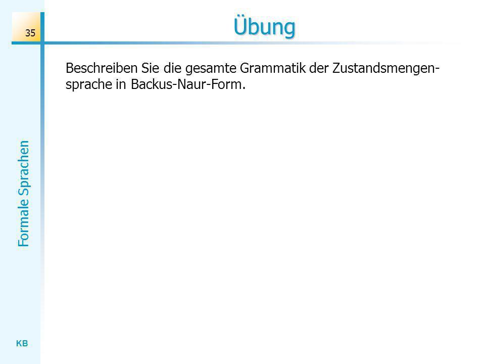 Übung Beschreiben Sie die gesamte Grammatik der Zustandsmengen-sprache in Backus-Naur-Form.