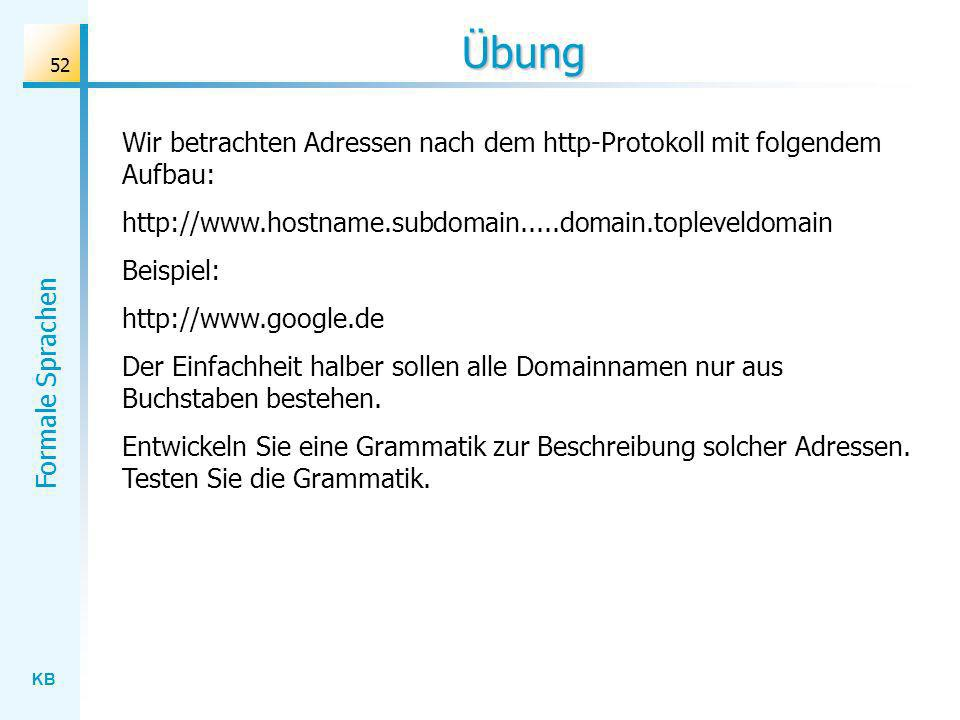 Übung Wir betrachten Adressen nach dem http-Protokoll mit folgendem Aufbau: http://www.hostname.subdomain.....domain.topleveldomain.