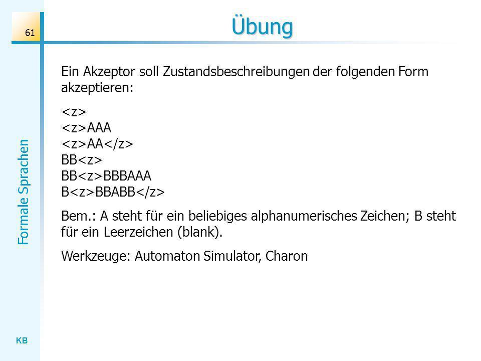 Übung Ein Akzeptor soll Zustandsbeschreibungen der folgenden Form akzeptieren: <z> <z>AAA <z>AA</z> BB<z> BB<z>BBBAAA B<z>BBABB</z>