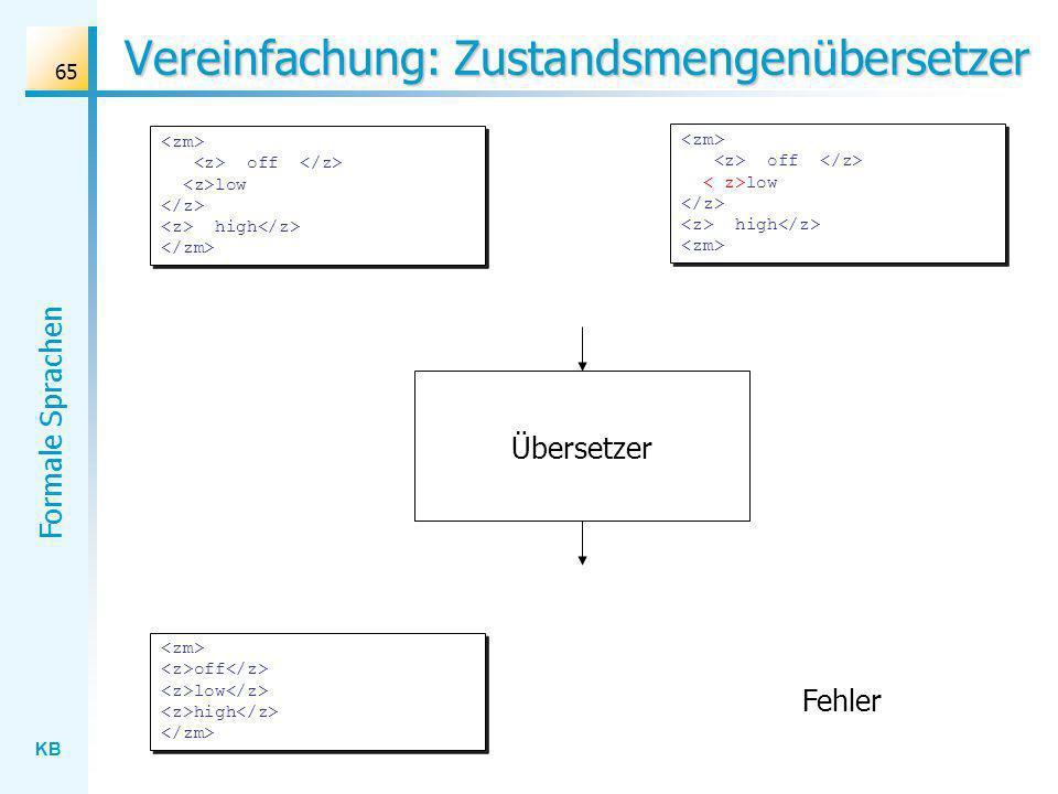 Vereinfachung: Zustandsmengenübersetzer