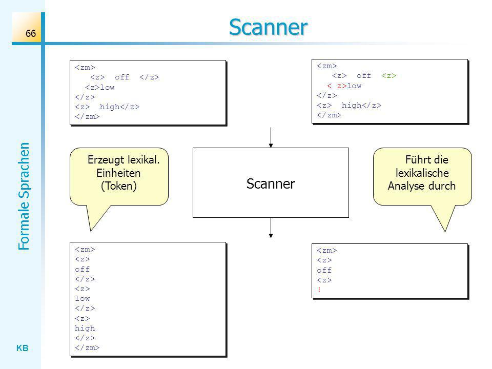 Scanner Scanner Erzeugt lexikal. Einheiten (Token)