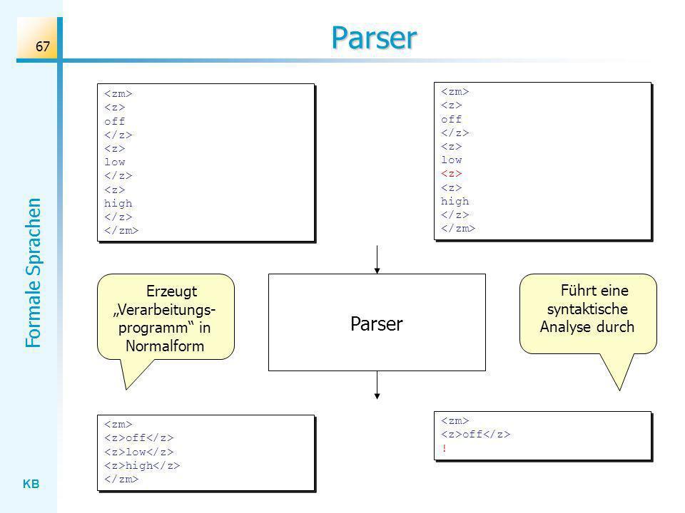 """Parser Parser Erzeugt """"Verarbeitungs-programm in Normalform"""