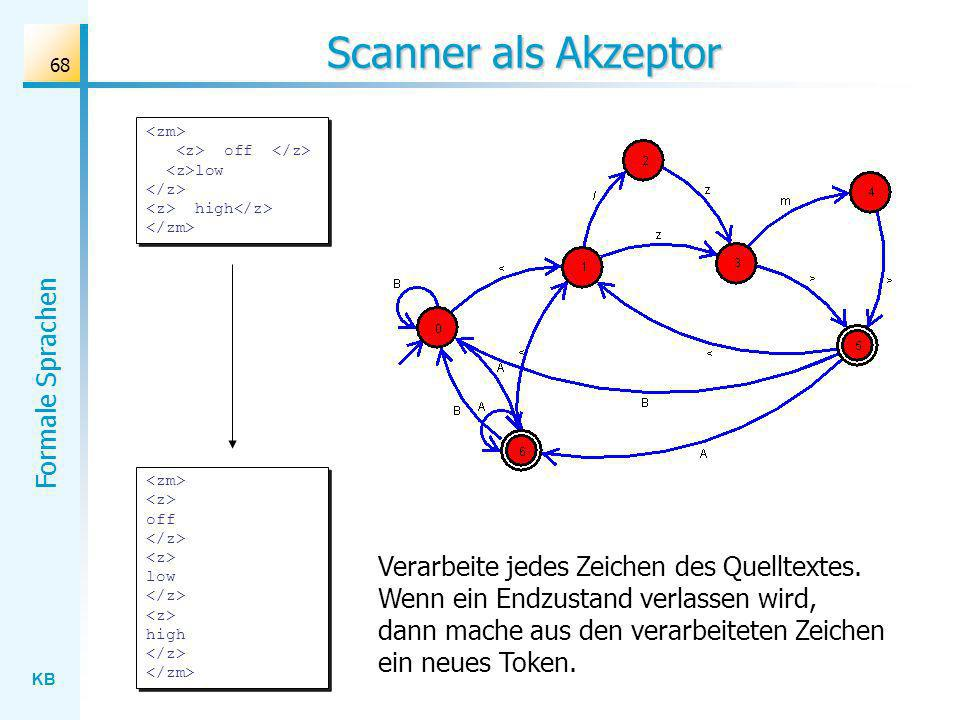 Scanner als Akzeptor <zm> <z> off </z> <z>low </z> <z> high</z> </zm> <zm> <z> off </z> <z> low </z> <z> high </z> </zm>
