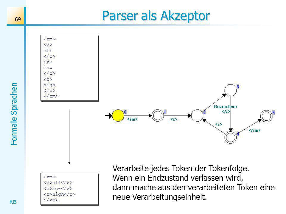 Parser als Akzeptor <zm> <z> off </z> <z> low </z> <z> high </z> </zm>