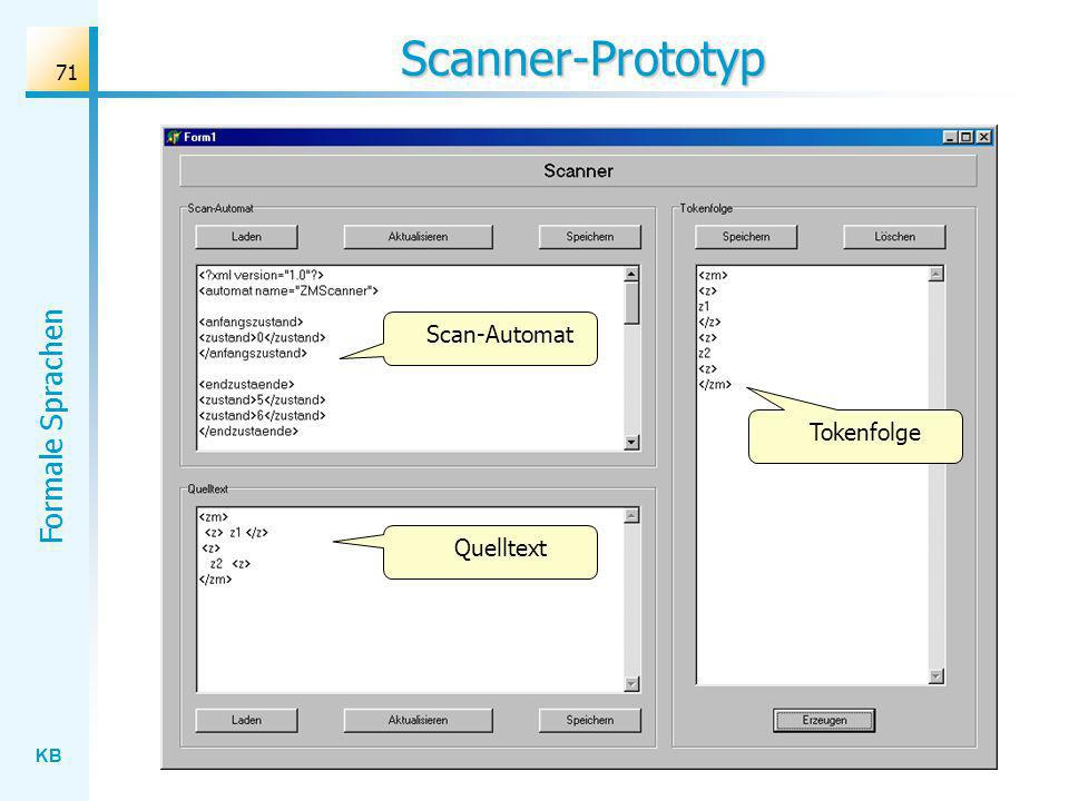 Scanner-Prototyp Scan-Automat Tokenfolge Quelltext