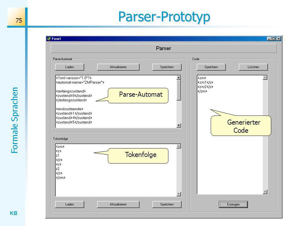 Parser-Prototyp Parse-Automat Generierter Code Tokenfolge