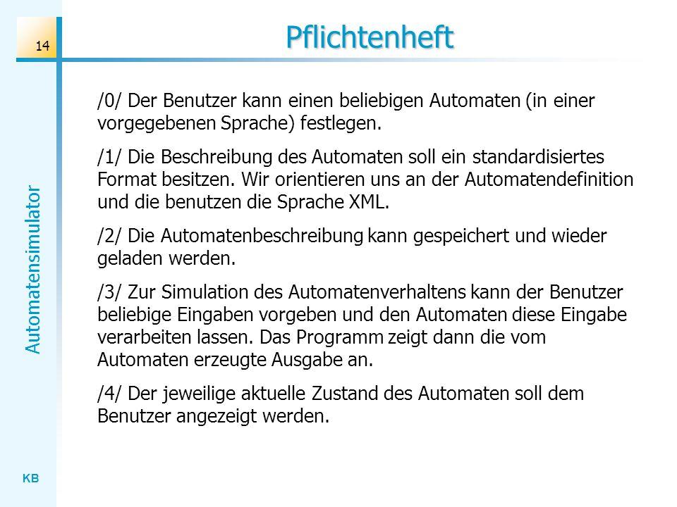 Pflichtenheft /0/ Der Benutzer kann einen beliebigen Automaten (in einer vorgegebenen Sprache) festlegen.