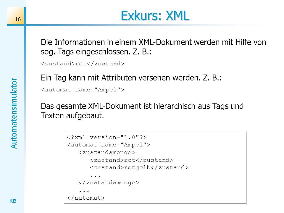 Exkurs: XML Die Informationen in einem XML-Dokument werden mit Hilfe von sog. Tags eingeschlossen. Z. B.: