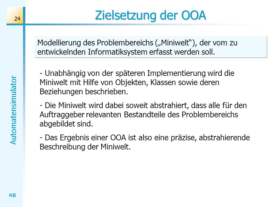 """Zielsetzung der OOA Modellierung des Problembereichs (""""Miniwelt ), der vom zu entwickelnden Informatiksystem erfasst werden soll."""